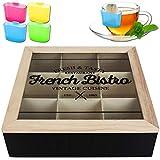 Teebox 9 Fächer French Bistro inkl. Teebeutel-Halter Teekiste Teekasten Teebeutelhalter