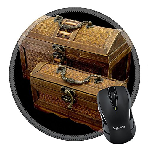MSD Naturkautschuk Mousepad rund Maus Pad/Matte: 3367427Zwei antike Truhen mit Eisen Griffe auf dunklem Hintergrund