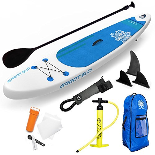 """Great SUP Inflatable 12'7'' Explorer Stand Up Paddle Board (6"""" Thick) with Adjustable Paddle/Travel Backpack/Air Pump/Leash