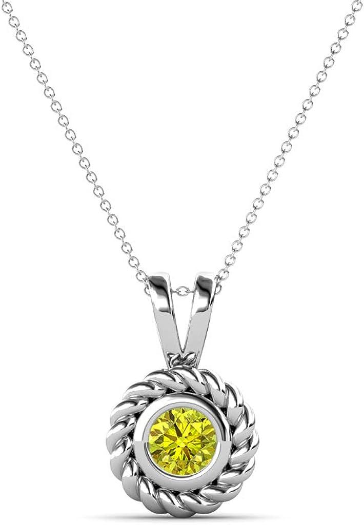 TriJewels Round Yellow Diamond 1 4 Bezel ct Set Womens Rope Fashionable Edge Max 52% OFF