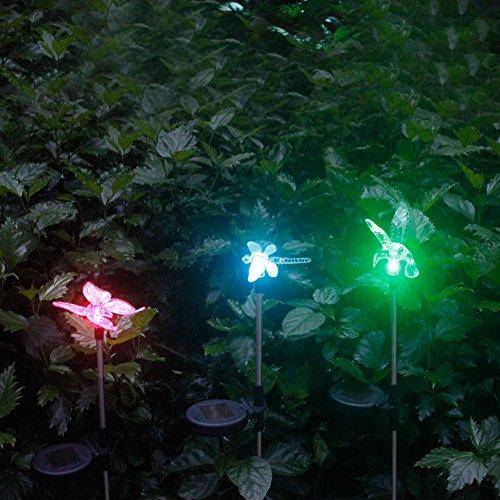 3er Set Solarleuchten Garten Solar Stableuchten Farbwechsel LED Libelle Kolibri Schmetterling Solarlampen für Garten, Balkon und Terrasse