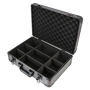 HMF 14502-02 Maletín para cámaras de fotos y accesorios, Maleta para Armas, Compartimientos Individuales, Aluminio, 46 x 15 x 33 cm