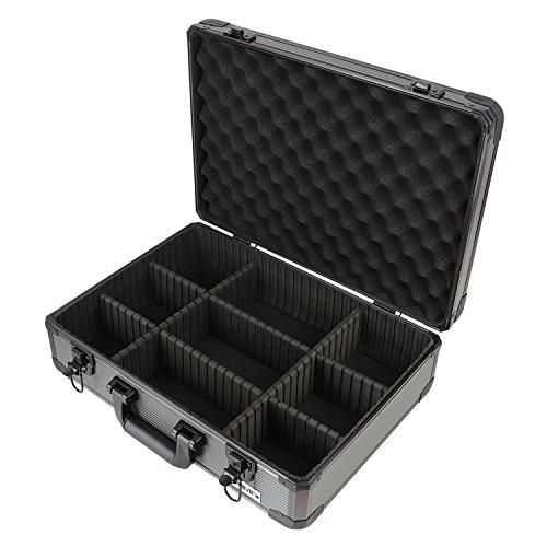 HMF 14502-02 Alu Transportkoffer, Aufbewahrungskoffer, Kamerakoffer, individuelle Facheinteilung, 46 x 15 x 33 cm