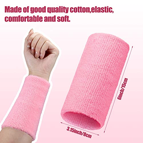 8 Pieces 6 Inch Wrist Sweatbands Sports Wristbands Elastic Sweat Wristbands Cotton Wrist Bands Unisex for Football Basketball Running Athletic Sports