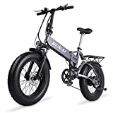 GUNAI Vélo électrique Fat Bike 500W 48V 12.8Ah Li-Batterie 20 * 4.0 VTT Cadre en Alliage d'aluminium et écran LCD étanche avec siège arrière(Argent)