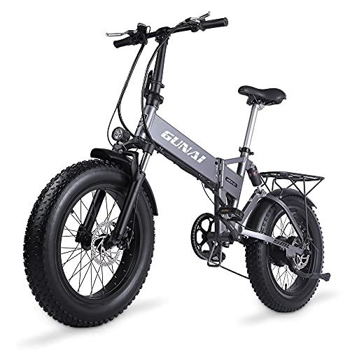 GUNAI 500W Elektrofahrräder,20 Zoll Faltbare Mountain Snow E-Bike Rennrad mit Scheibenbremsen 7 Geschwindigkeit (Silber)