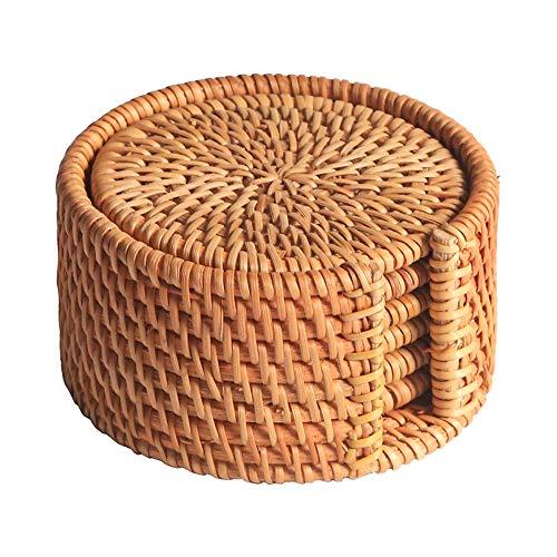 Jcevium - Set di 6 sottobicchieri per Kungfu Tee accessori da tavola rotondi, in rattan, diametro 8 cm