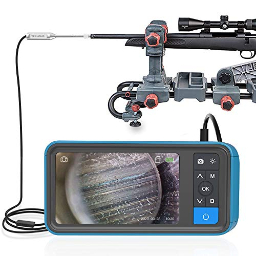 Rigid Rifle Borescope with Monitor, Teslong Rod Digital Gun Barrel Bore Scope Videoscope Inspection Camera with 4.5inch IPS Color Screen, 0.2inch Diameter & 26inch Long Insertion Tube