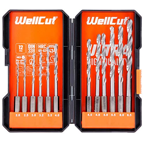 "WELLCUT 12-Pieces Durable HSS HEX Shank Steel ¼"" 2-6.5mm Drill Bit Set for Drilling Hard Plastic/Wood/Stone and Metal (for DIY and Professional Use)"