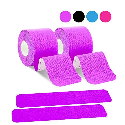 poshei Kinesiology Tape Precut, Elastic Therapeutic Sports Tape - Pain Relief Adhesive for Shoulder Knee Elbow Ankle, Waterproof, Breathable, Latex Free (2 Pack Purple Tape)