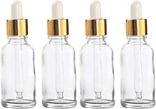 ConStore 4pcs 30ml Essential Oil Dropper Bottles Clear Glass Bottles with Glass Eye Dropper Refillable Perfume Liquid Cont...