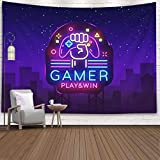 Crannel Easter Gamer Play Win Logo Neon Sign Template Game Night in Style Modern Trend Light Banner Tapestry 80x60 Inches Wall Art Tapestries Hanging Dorm Room Living Home Decorative,Purple Black-8