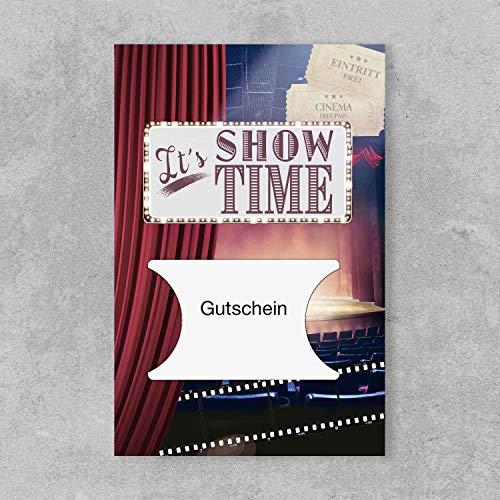 PremiumLine Gutscheinkarte 1 Stück inkl. Briefumschlag It´s Showtime Grußkarte 11,5 x 17,5 cm gestanzt für Gutscheinkarten