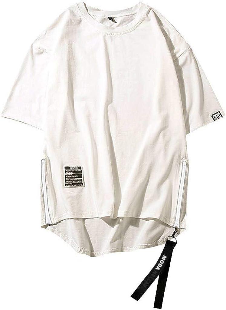 Men's Summer Cotton Blend Tops Tee Shirt Hip Hop Style Side Zipper Patchwork O-Neck Short Sleeve T-Shirt Top