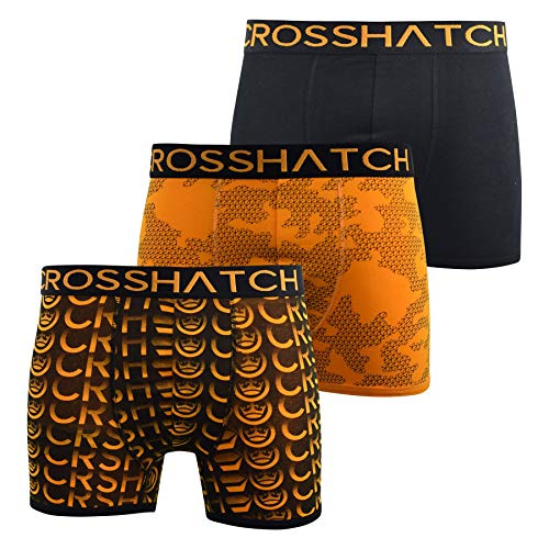 CrossHatch Mens Boxers Shorts Multipacked 3PK Underwear Gift Set 3 Pack Saunton(XL,Orange)