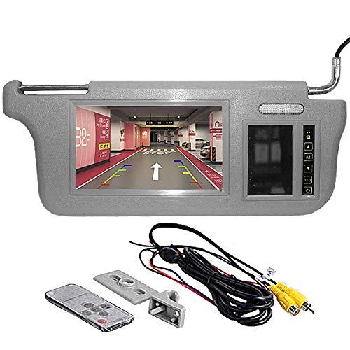 GGTFA Beifahrer Seite Sonnenblende Rückspiegel Monitor Sun Visor 2 Video-Eingang für Auto Kamera GPS DVD TV Grau