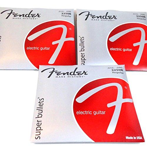 3 Sets - Fender Super Bullets Nickel Steel 10-46 Regular Electric Guitar Strings