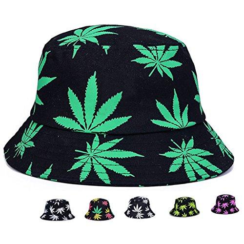 Marihuana Weed Leaf Cannabis Hut Kappe faltbar Eimer Snapback Hut Herren -  -  Einheitsgröße
