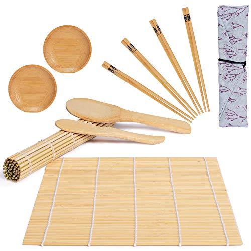 Vanpus 11pz Kit Sushi Completo Professionale Piatti Stuoia Sushi Maki Bambù Fai Da Te Cucina