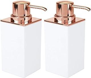mDesign Set of 2 Bathroom Soap Pump — Stylish Soap Dispenser Pump for Bathroom Sink — Handwash Dispenser for the Bathroom ...