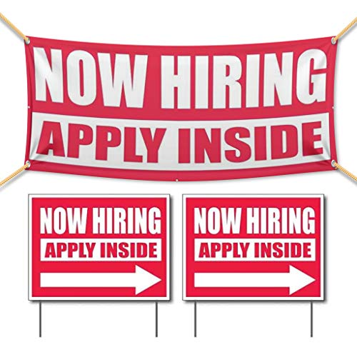 """VictoryStore Banner and Outdoor Signs: """"Now Hiring, Apply Inside"""" Vinyl Banner and Outdoor Sign Set, Includes a 2 Foot By 4 Foot Banner and 2 (18 Inch x 24 Inch) Signs With Stakes"""