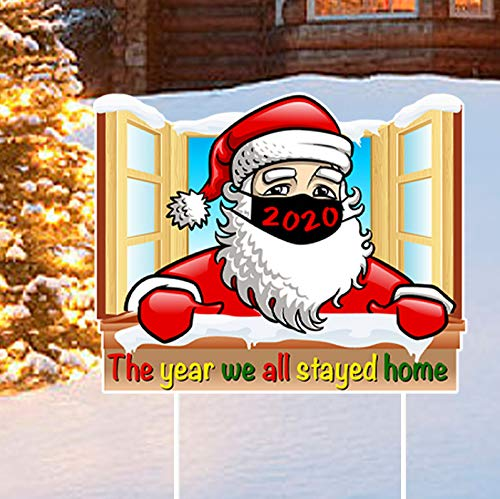 Merry Christmask Yard Signs with Stakes Outdoor Santa Lawn Decorations Christmas Party Decorations Outdoor Lawn Yard Signs Quarantine 2020 Decorations Xmas Outdoor Yard Sign Lawn Decor