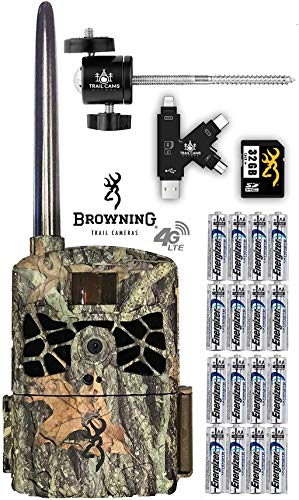 Browning Defender 4G LTE Cellular Trail Camera with Batteries, SD Card, Card Reader, and Mount (Verizon)