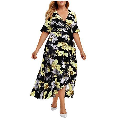 FNKDOR Holiday Traveling Style Plus Size Women Beach Dating Slim Casual Short Sleeve Cold Shoulder Boho Flower Print Long Shift Dress Skirt
