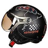 LALEO Personalizado Personalidad F1 Vintage Harley Cascos Moto Half-Helmet, Transpirable y Cálido Estilo Deportivo Hombres Mujeres Niño Adulto Casco Scooter Casco Jet M-XL,Blacka,L