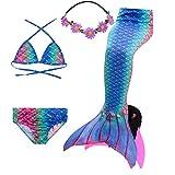 COZY HUT 2019 Meerjungfrau Flosse Zum Schwimmen Meerjungfrau Schwanz mit Flosse mit Bikini für Kinder Mädchen 5pcs Sets (3-12 Jahre)