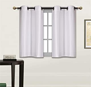 Fancy Linen 2 Panel Faux Silk Blackout Curtain Set Solid White with Grommet Top Room Darkening Short Tier Drapes for Kitchen, Bathroom or Any Small Window New