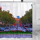 Spain Las Ramblas Barcelona Cortina de ducha de viaje baño decoración conjunto con ganchos poliéster 72x72 pulgadas (YL-05346)