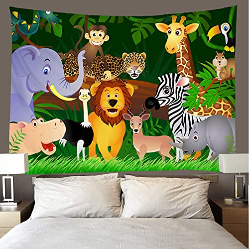 shuimanjinshan Wandteppich Wandbehänge Afrikanische Comic-Tiere Tapisserie Wandtuch Hausdeko Strandtuch Tagesdecke Boho Deko (A-1699) 150X150Cm