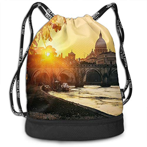DPASIi Mochilas con cordón para el día, puesta de sol en el río Tíber San Pedro, ciudad de Roma, basílica de Italia, estilo turístico, cierre de cuerda ajustable