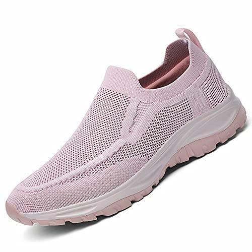 Somic Zapatos Deportivos para Caminar Mujer Hombres Malla Transpirable Casual Running para Correr Gimnasio Sneakers Deportivas Padel Transpirables Rosa EU 43 (CN 44)