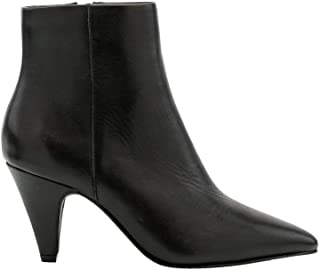 Leather Cone Heel Ankle Boot