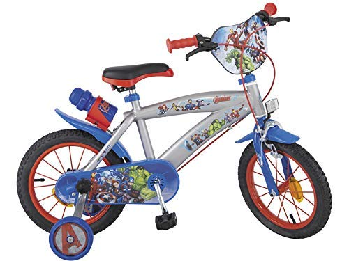 Carrefour Toimsa 000864–Bicicleta Infantil, 14 Pulgadas (35,5 cm), diseño de Los Vengadores, Color Azul