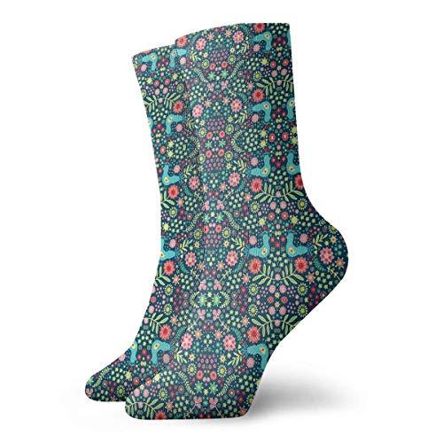 Socken Atmungsaktiv Skandinavische Garten Crew Socken Exotisch Modern Damen & Herren...