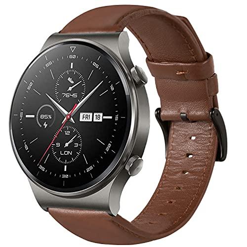 Pulsera compatible con Huawei Watch GT 2 Pro/3/3 Pro/GT/GT2 46 mm/GT 2e/Honor Magic Watch 2 46 mm/Galaxy Watch 46 mm/Gear S3/Galaxy Watch 3 45 mm, correa de piel suave de 22 mm.,