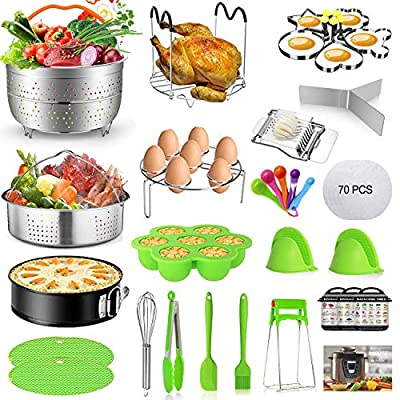Mibote 101 Pcs Accessories Set for Instant Pot 5,6,8 Qt, 2 Steamer Baskets, Springform Pan, Egg Steamer Rack, Egg Bites Mold, Kitchen Tong, Silicone Pad, Oven Mitts, Cheat Sheet Magnet, and etc