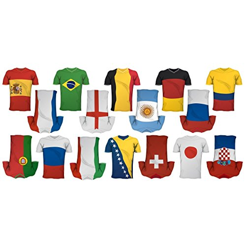 Apalis Fenstersticker Fensterfolie Fußball Trikots Sticker Set HxB: 30 x 20cm