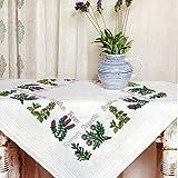 Kamaca Stickpackung Tischdecke KRÄUTER - Garten Kreuzstich vorgezeichnet aus Baumwolle Stickset mit...