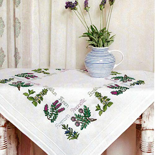 Kamaca Stickpackung Tischdecke KRÄUTER - Garten Kreuzstich vorgezeichnet aus Baumwolle Stickset mit Stickvorlage (Mitteldecke 80x80 cm)