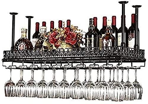 Wine Rack Ceiling Wine Racks,Bar,Restaurant,Hanging,Wine Glass Rack,Black Metal Storage Shelf Wine Glass Goblets/Stemware Rack Wine Bottle Holder for Family and,Black,80x35Cm
