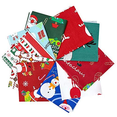 10 delar jul bomull tygbuntar 10 x 10 tum sömnad fyrkanter paket flerfärgat tyg lapptäcke julgran fett fjärdedelar förskurna jultomten tygskrapor för jul gör-det-själv och ansiktsskydd