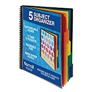 Samsill 10 Pocket Spiral Project Organizer with Dividers, Customizable Front Cover, Erasable Write On Tabs