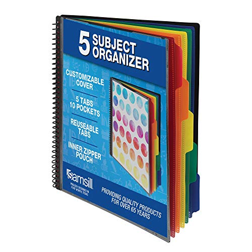 Samsill 10 Pocket Spiral Project Organizer with 5 Dividers, Customizable Front Cover, Erasable Write On Tabs
