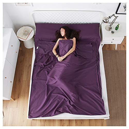 GUOCU Saco de Dormir de Microfibra con Funda de Almohada,Sábanas Interiores Ultraligeros, Ideal para Interior Hostels Cabañas Albergues Camping Púrpura 150 * 210cm