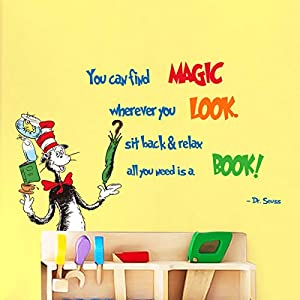 decalmile Wall Decals Quotes You can find Magic Wherever You Look Educational Reading Wall Stickers Baby Nursery Kids Bedroom Classroom Wall Decor