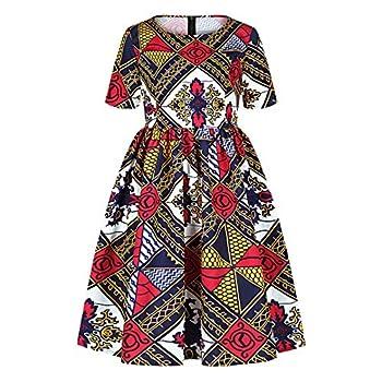 jascaela Girls Boho African Floral Print Dashiki Short Sleeve A Line Flared Swing Party Dress Kids Vintage Summer Outfit  Dashiki-L